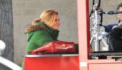 Annette Frier bei den Dreharbeiten